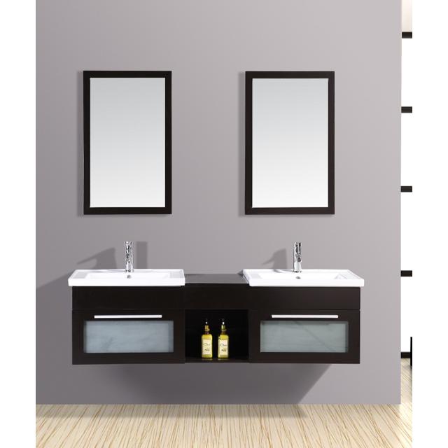 Concept Usine Ensemble Salle De Bain ChÊNE Massif Bahamas: Meuble, 2 Vasques, 2 Miroirs