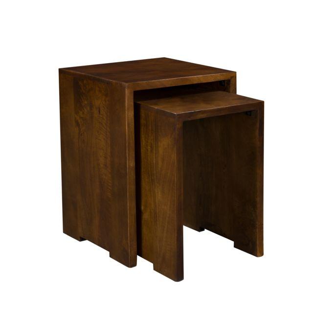 Rendez Vous Deco Table basse gigogne Tagada en bois foncé