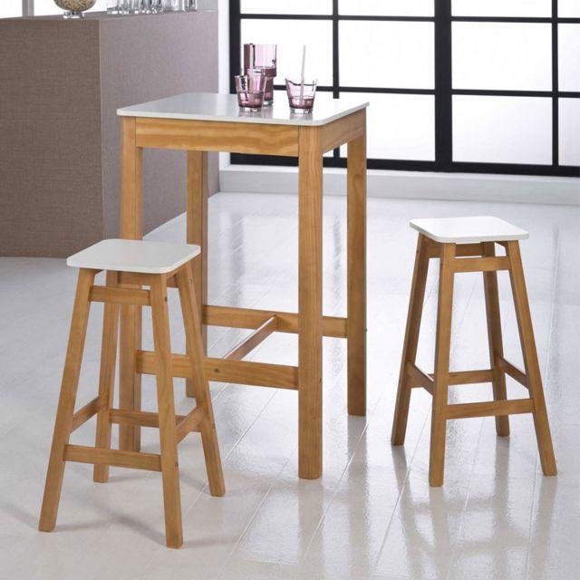 Tousmesmeubles Table haute carrée + 2 Tabourets Blanc et Bois - Guzman