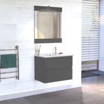 creazur meuble salle de bain simple vasque rosaly 70 gris brillant