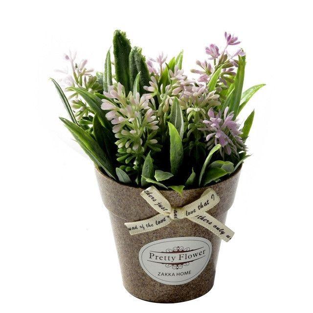 Wewoo Fleurs Artificielles 2 Pcs Faux Herbe De Avec Des En Pot Plastique Pour La Décoration De Ferme Rustique Jardin Rose