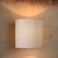Suspension cylindre en métal et plastique ajouré diamètre 30cm Moda - Blanc