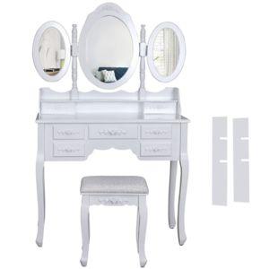 helloshop26 coiffeuse bois avec 3 miroirs 5 tiroirs et tabouret table maquillage blanc 1412012. Black Bedroom Furniture Sets. Home Design Ideas