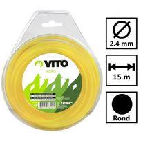 Vito Garden - Fil nylon rond pour débroussailleuse - longueur 15m - diamètre 2.4mm