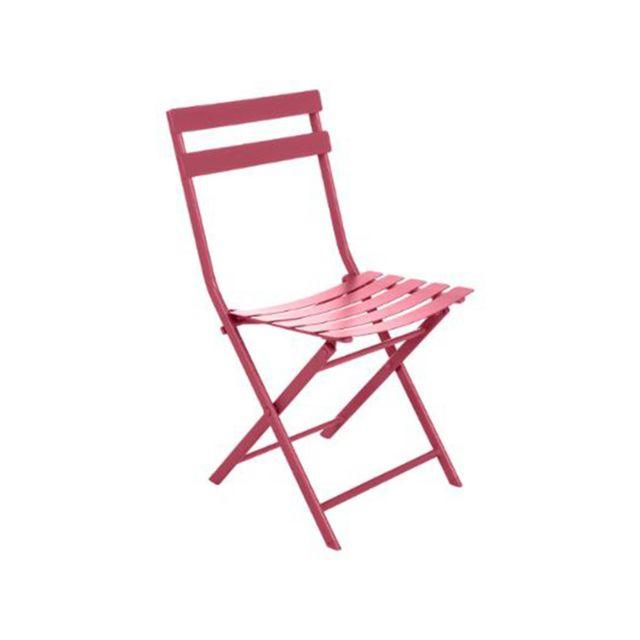 HESPERIDE - Chaise de jardin métal pliante Greensboro Cerise 1