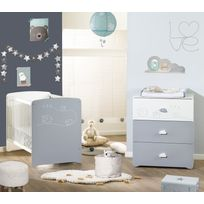 ALIBABY - Ensemble lit bébé + commode 3 tiroirs LOAN