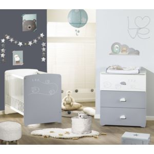Alibaby ensemble lit b b commode 3 tiroirs loan pas for Ensemble lit commode bebe