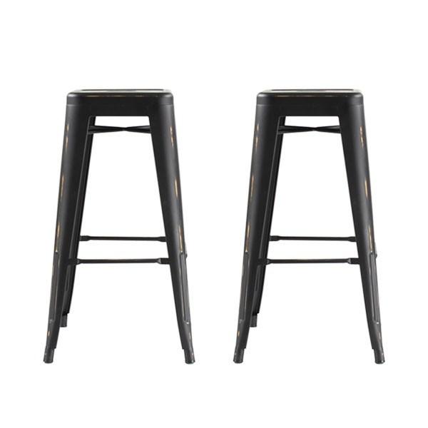 Lot de 2 tabourets de bar 4 pieds Industriel métal finition noir vieilli Iron-small - 66cm