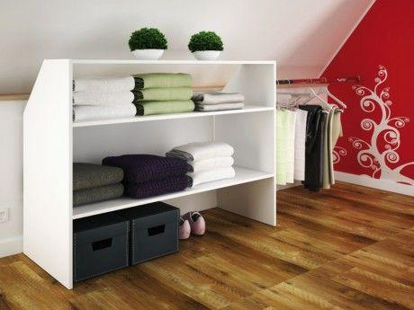 marque generique meuble sous pente arely 2 niveaux 1 barre de penderie blanc pas cher. Black Bedroom Furniture Sets. Home Design Ideas