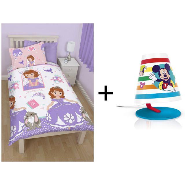 Disney Parure de lit - Couette 135x200 + taie d'oreiller 74x28 Princess Sofia + Lampe de bureau Mickey