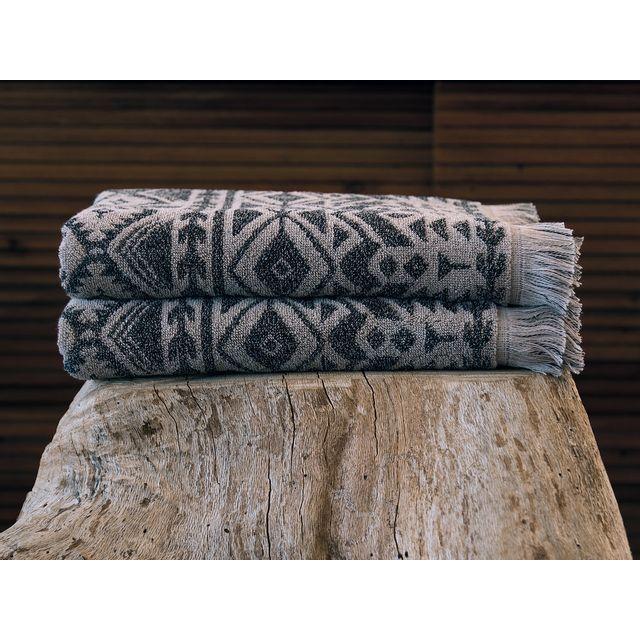 Sorema - Serviette de toilette coton 530gr/m2 motif ikat ethnique taupe franges 50x100cm Spiritnc Marron