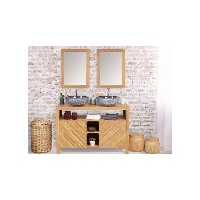 Marque generique meuble de salle de bain double vasque en bois teck 120cm tikovo pas cher for Marque meuble salle de bain