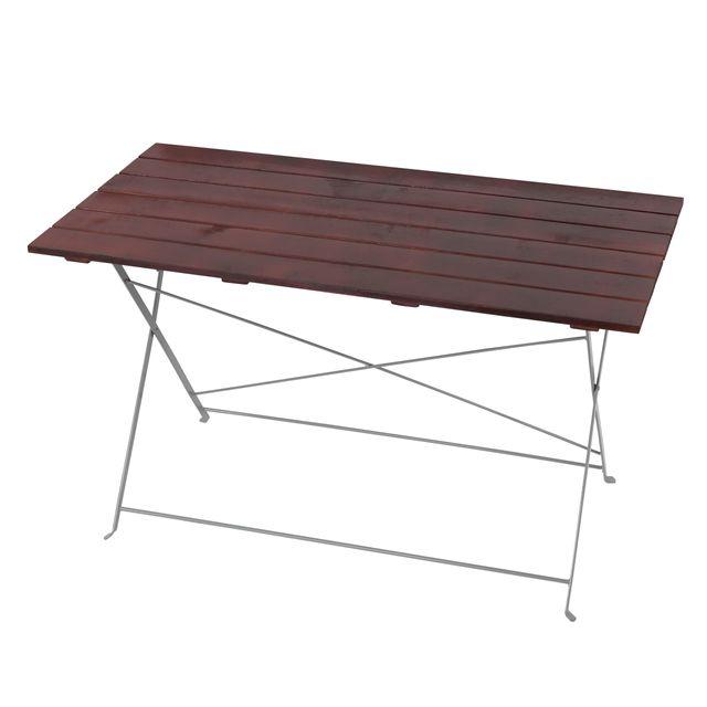 Mendler Table de jardin ou de brasserie Berlin, pliable, bois huilé, 120x60x70cm ~ brun foncé