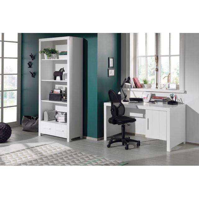Comforium Ensemble avec un bureau et une bibliothèque design en pin massif et Mdf coloris blanc