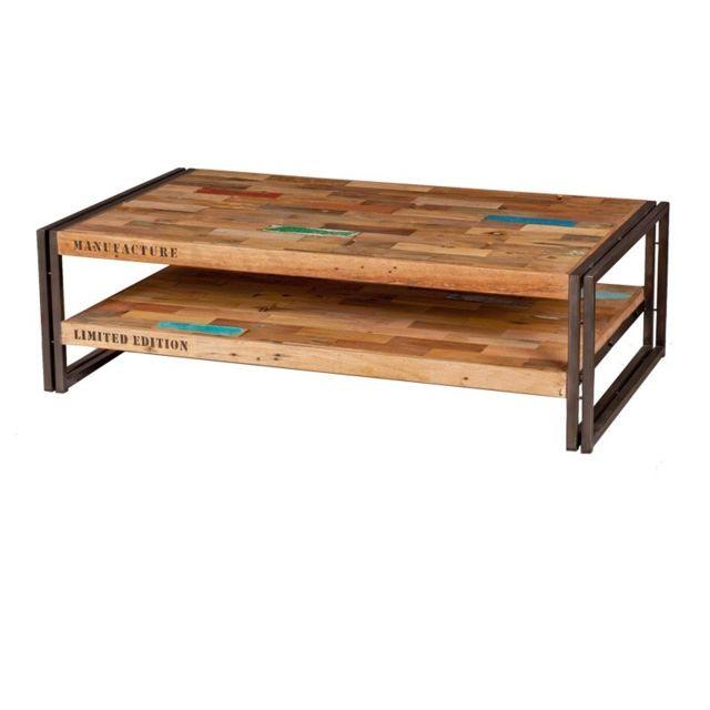 Tousmesmeubles Table basse en bois 120 cm - Industry