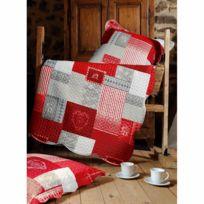 Lovely Casa - Couvre-lit double face boutis Arkansas rouge 220 x 240 cm et 2 taies