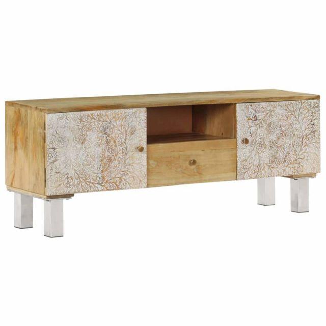 Helloshop26 Meuble télé buffet tv télévision design pratique bois de manguier massif 118 cm 2502136