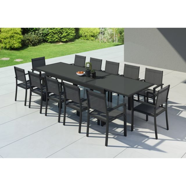 Ims garden hara xxl table de jardin extensible - Table de jardin aluminium extensible carrefour ...