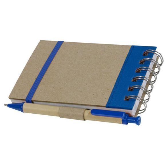 eco-bureau - Bloc-note avec élastique + stylo recyclé - bleu marine