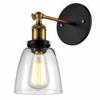 Kosilum - Applique verre transparent et douille bronze - Stradi