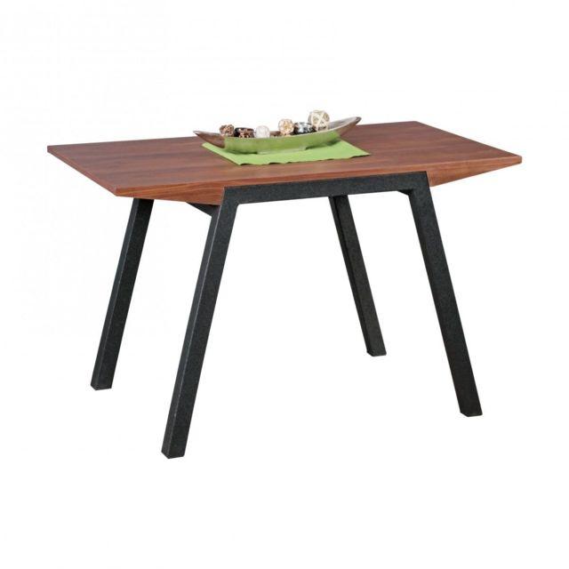 Comforium Table à manger contemporaine 120 cm avec plateau en Mdf et piétement anthracite en métal