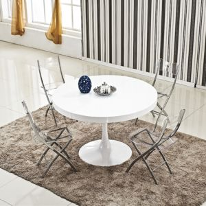 Ego design table ronde extensible angie blanc pas cher for Table a manger ronde extensible