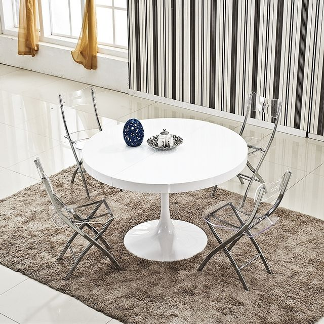 Ego design table ronde extensible angie blanc pas cher - Table salle a manger ronde design ...