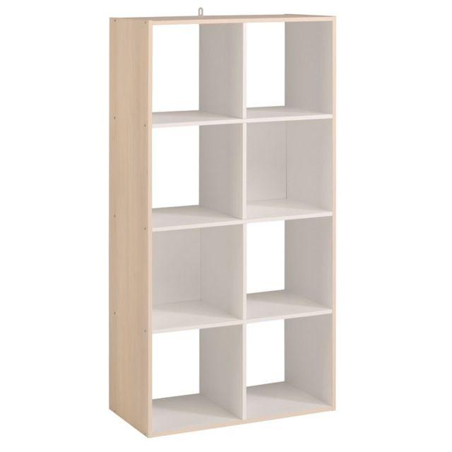 Tousmesmeubles Etagère Cube 8 Cases Blancacacia Felix N2 Pas