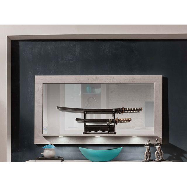 Sofamobili Miroir mural avec tablette moderne effet béton ciré Peru