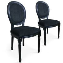 Menzzo - Lot de 2 chaises médaillon Louis Xvi Black Velours Noir