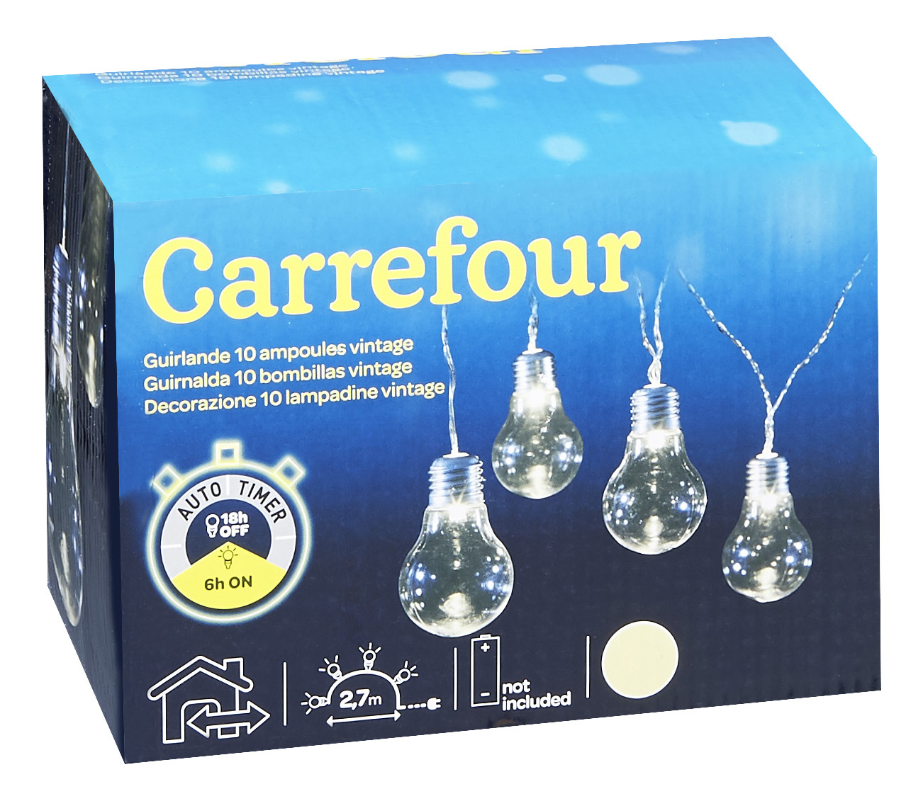carrefour guirlande 10 ampoules vintage blanc chaud l 2 7 m de61680 pas cher achat. Black Bedroom Furniture Sets. Home Design Ideas