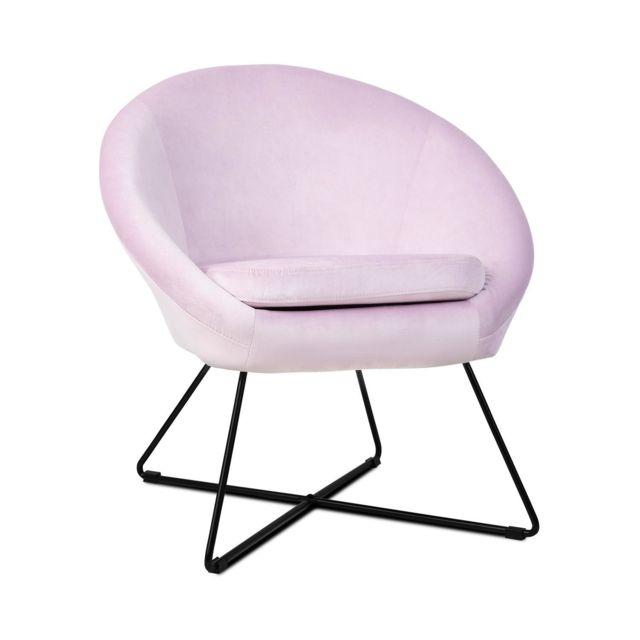 BESOA Emily Chaise rembourrée de mousse - Revêtement polyester - Pieds acier - Design rétro rose