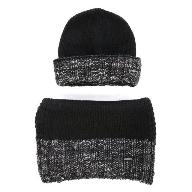aadfd2add77 Diesel - Coffret bonnet et écharpe noir et gris Kandy -kit pour homme
