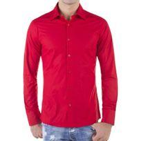 Redbridge - Chemise homme col italien manches longues classique rouge