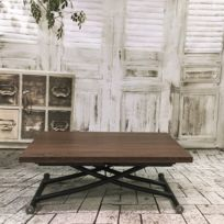 Ego Design - Table relevable Ilona noir et bois noyer