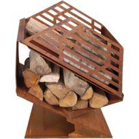 FANCY FLAMES - Chauffe-terrasse en fonte avec stockage de bois