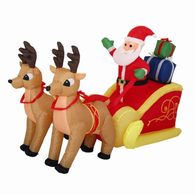 Père Noël Et Son Traîneau Gonflable