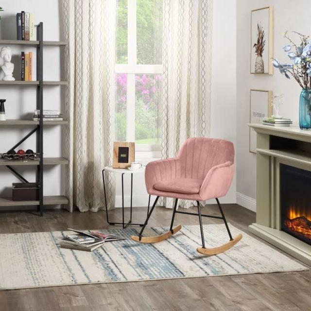 MARQUE GENERIQUE Icaverne FAUTEUIL JENS Fauteuil Rocking Chair - Velours Vieux rose - Pieds hetre naturel - L 63 x P 75 x H 80 cm