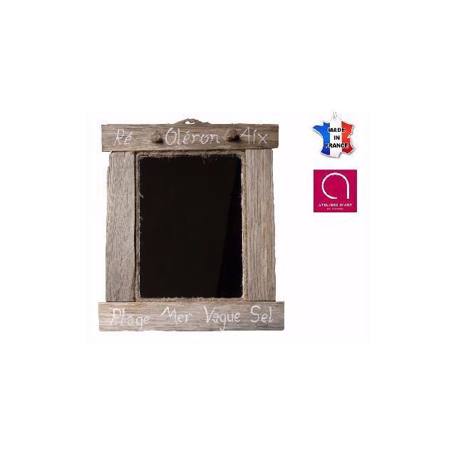 BO TIME Miroir en bois flotté vieilli avec inscription marine personnalisable - Fabriqué à la main en France