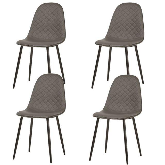 Nouvomeuble Chaise design grise Santori lot de 4