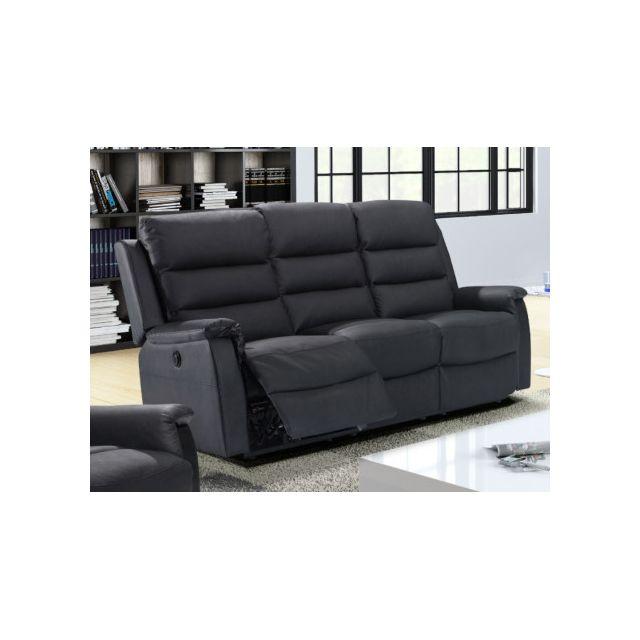 marque generique canap 3 places relax lectrique en cro te de cuir trivento noir 92cm x. Black Bedroom Furniture Sets. Home Design Ideas