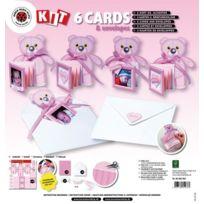 Karen Marie Klip - 6 cartes faire part Rose Nounours et enveloppes