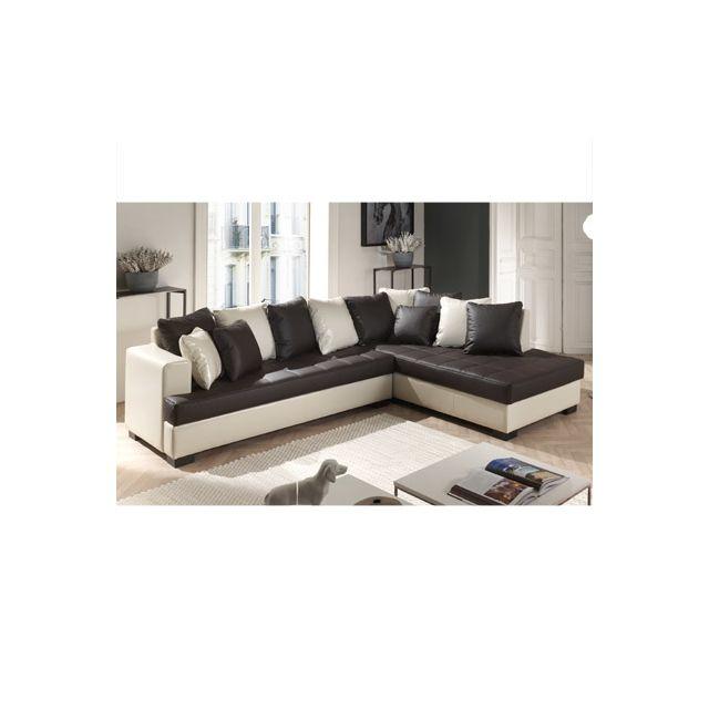 Canapé d'angle à droite marron et écru Paros