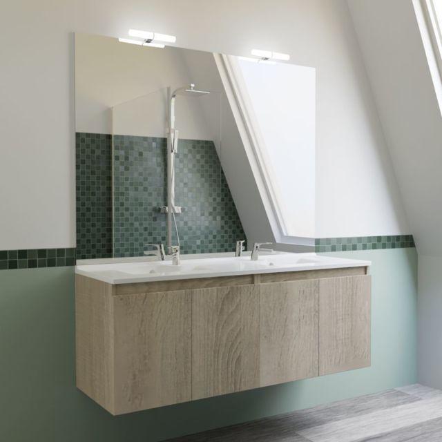 CREAZUR - Meuble salle de bain double vasque PROLINE 140 - Cambrian ...