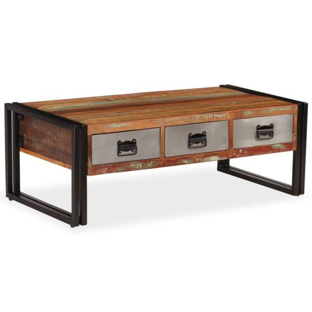 Vidaxl Table Basse avec 3 Tiroirs Bois de Récupération Table d'Appoint Décor