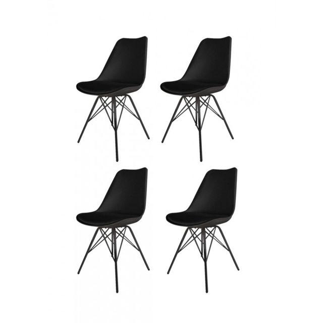 Meubletmoi Lot 4 chaises Noires Et Metal style scandinave