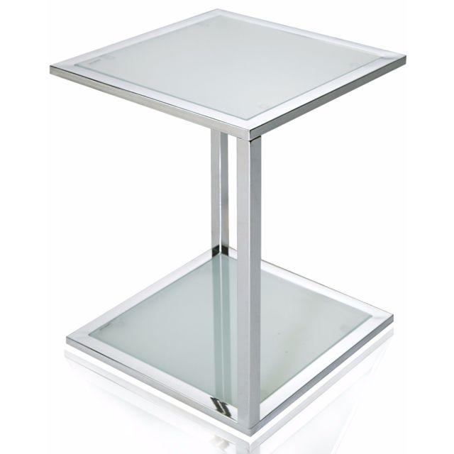 Comforium Petite table d'appoint en verre de forme carrée