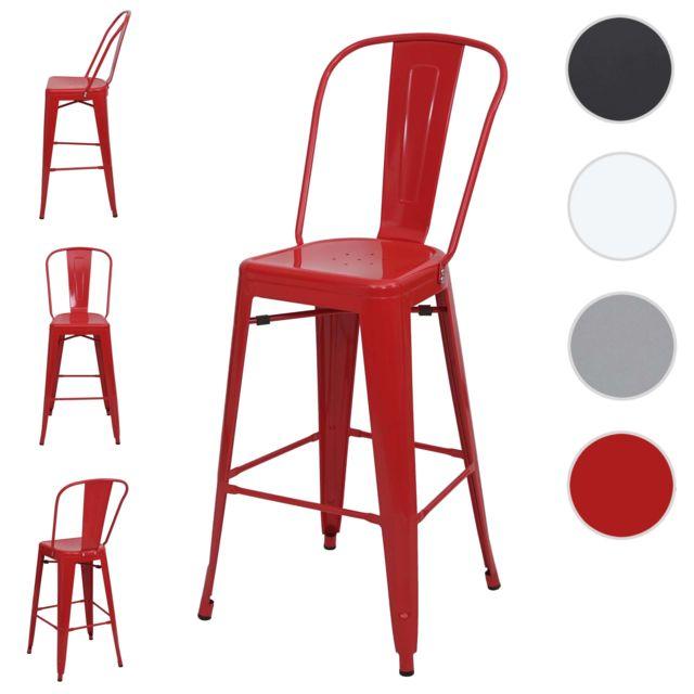 Mendler 4x tabouret de bar Hwc-a73, chaise de comptoir avec dossier, métal, design industriel ~ rouge