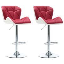 Icaverne Tabourets & chaises de bar gamme Tabourets de bar 2 pcs Rouge bordeaux Similicuir