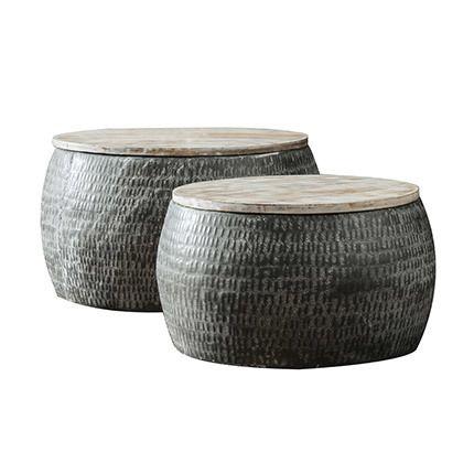 Ensemble 2 tables de salon de diam 50cm et 60cm en acier et manguier